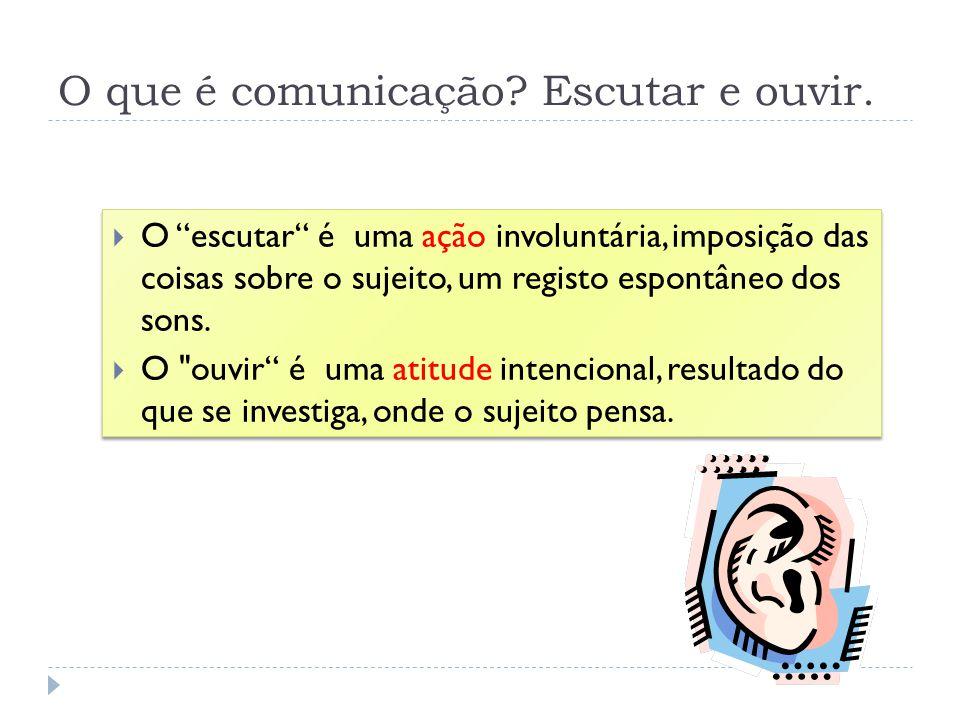 O que é comunicação Escutar e ouvir.