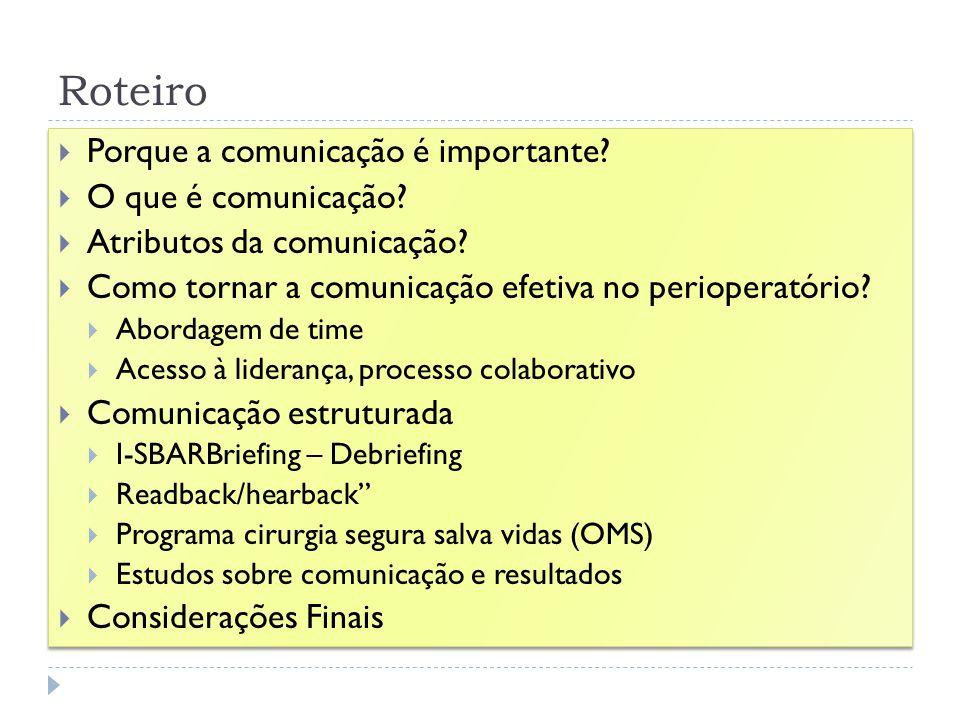 Roteiro Porque a comunicação é importante O que é comunicação