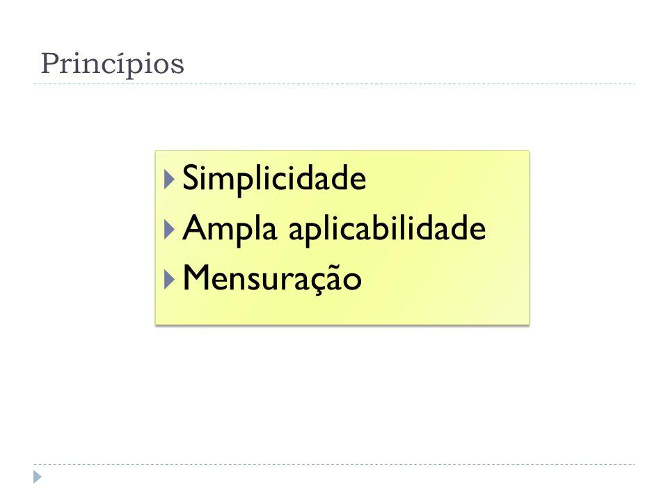Princípios Simplicidade Ampla aplicabilidade Mensuração