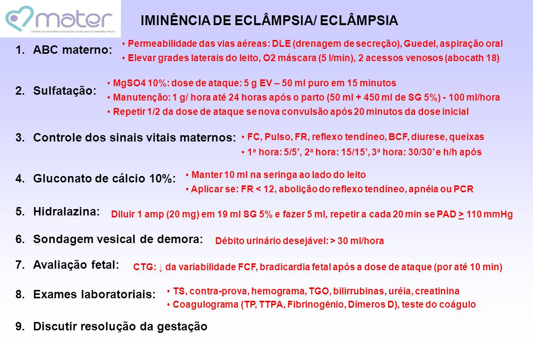 IMINÊNCIA DE ECLÂMPSIA/ ECLÂMPSIA