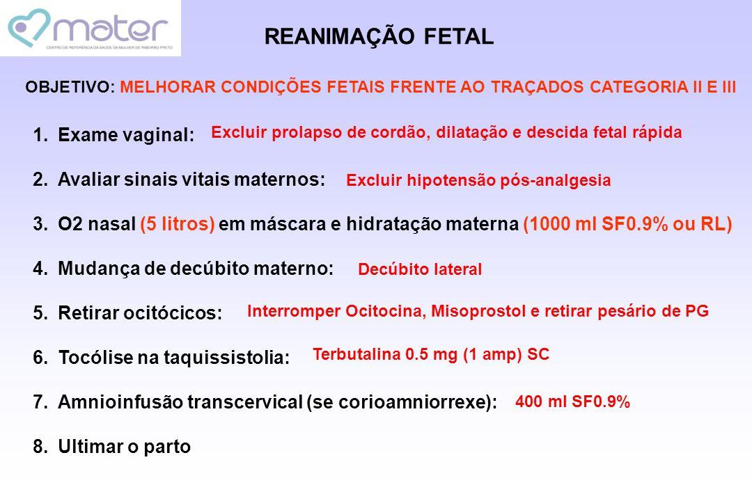 REANIMAÇÃO FETAL Exame vaginal: Avaliar sinais vitais maternos: