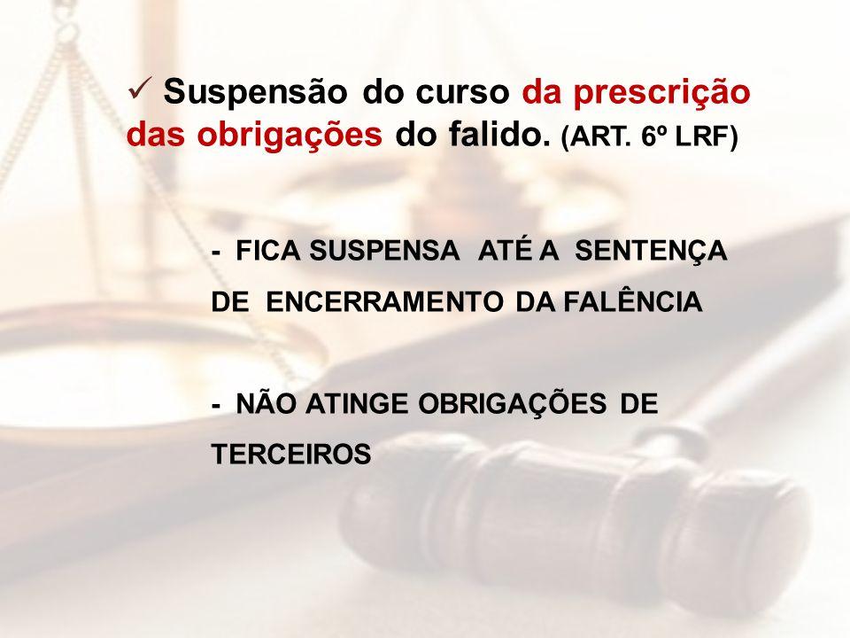 Suspensão do curso da prescrição das obrigações do falido. (ART