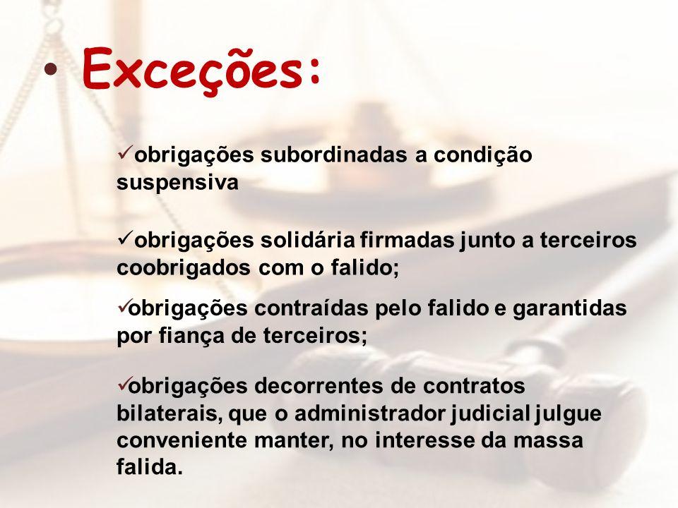 Exceções: obrigações subordinadas a condição suspensiva