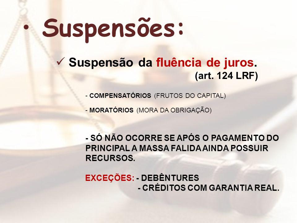 Suspensões: Suspensão da fluência de juros. (art. 124 LRF)