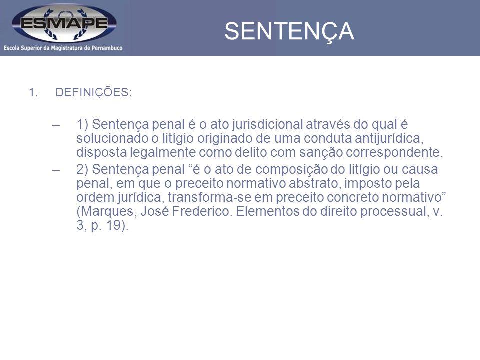 SENTENÇA DEFINIÇÕES: