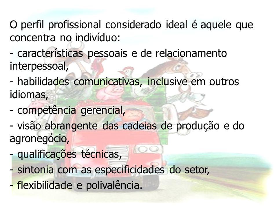 O perfil profissional considerado ideal é aquele que concentra no indivíduo: