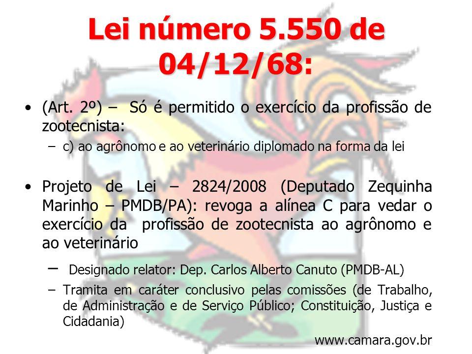 Lei número 5.550 de 04/12/68: (Art. 2º) – Só é permitido o exercício da profissão de zootecnista: