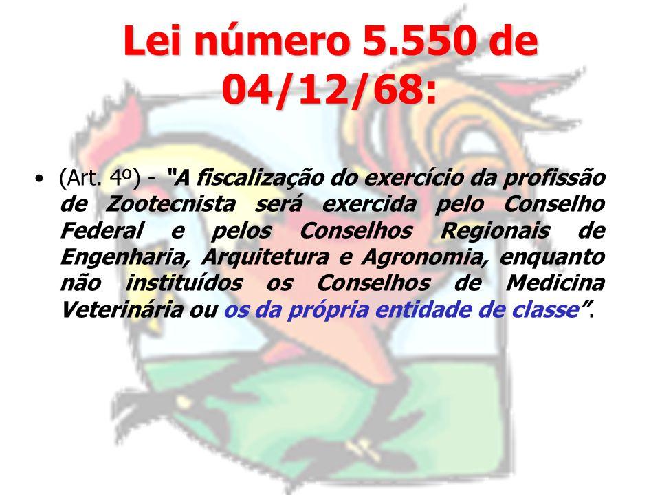 Lei número 5.550 de 04/12/68: