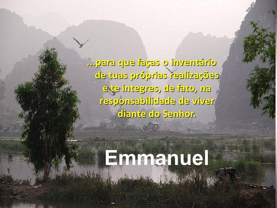 ...para que faças o inventário de tuas próprias realizações e te integres, de fato, na responsabilidade de viver diante do Senhor.
