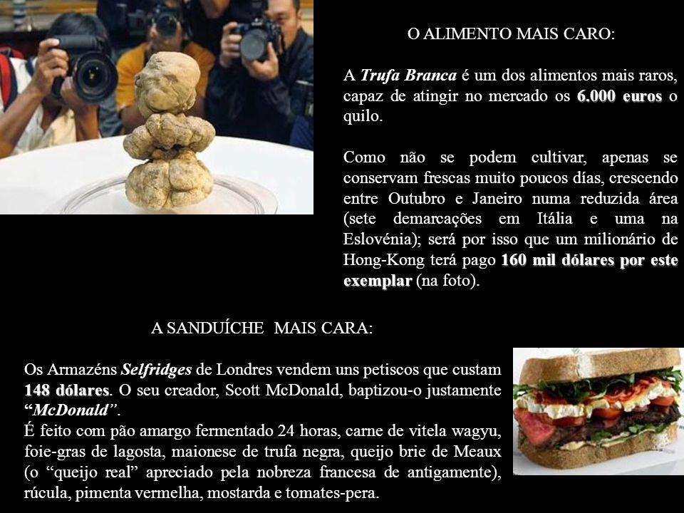 O ALIMENTO MAIS CARO: A Trufa Branca é um dos alimentos mais raros, capaz de atingir no mercado os 6.000 euros o quilo.