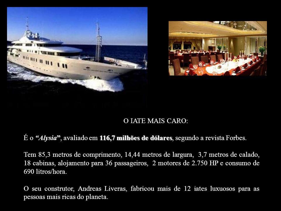 O IATE MAIS CARO: É o Alysia , avaliado em 116,7 milhões de dólares, segundo a revista Forbes.