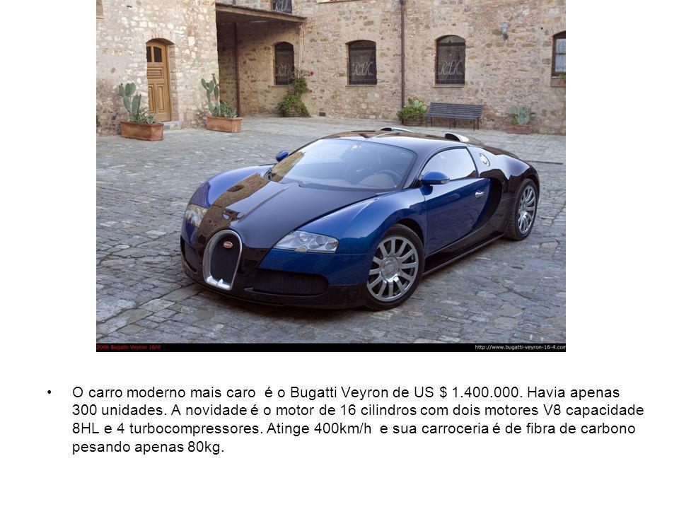 O carro moderno mais caro é o Bugatti Veyron de US $ 1. 400. 000