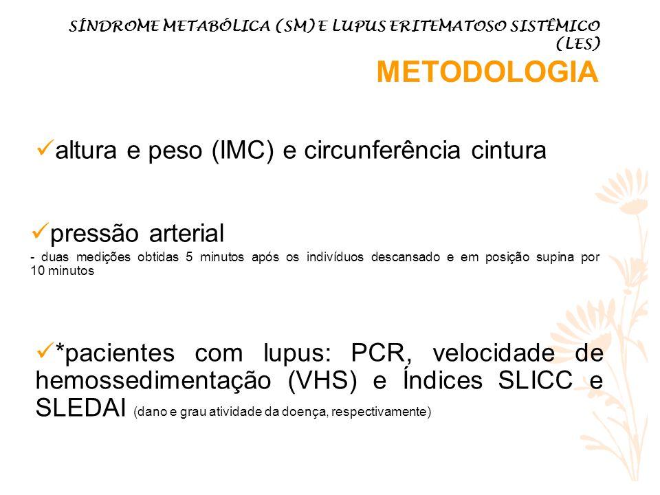 altura e peso (IMC) e circunferência cintura