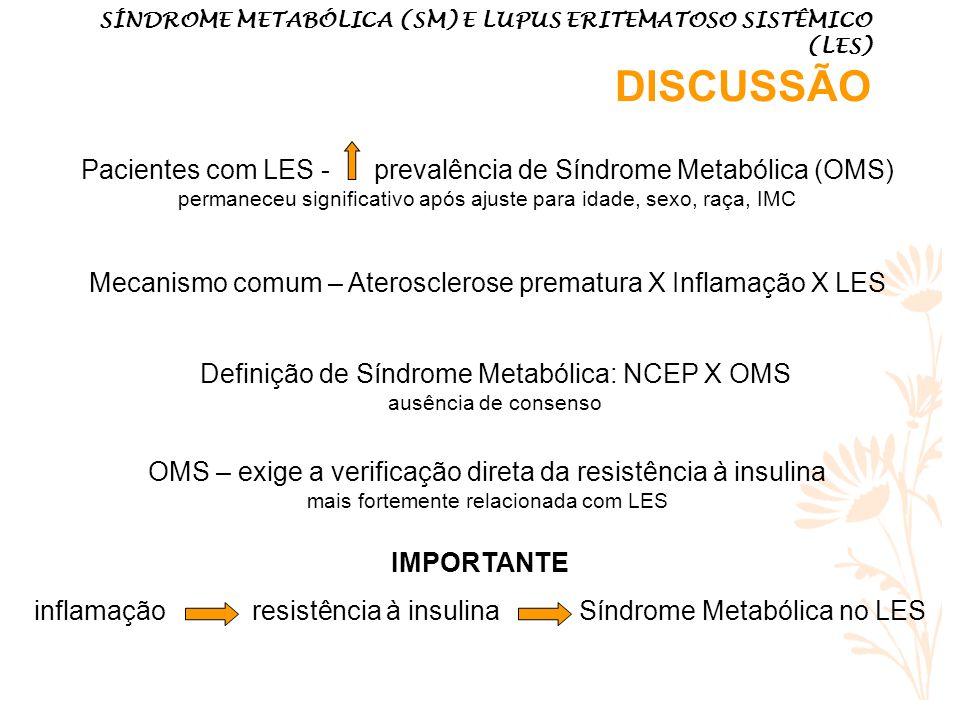 Mecanismo comum – Aterosclerose prematura X Inflamação X LES