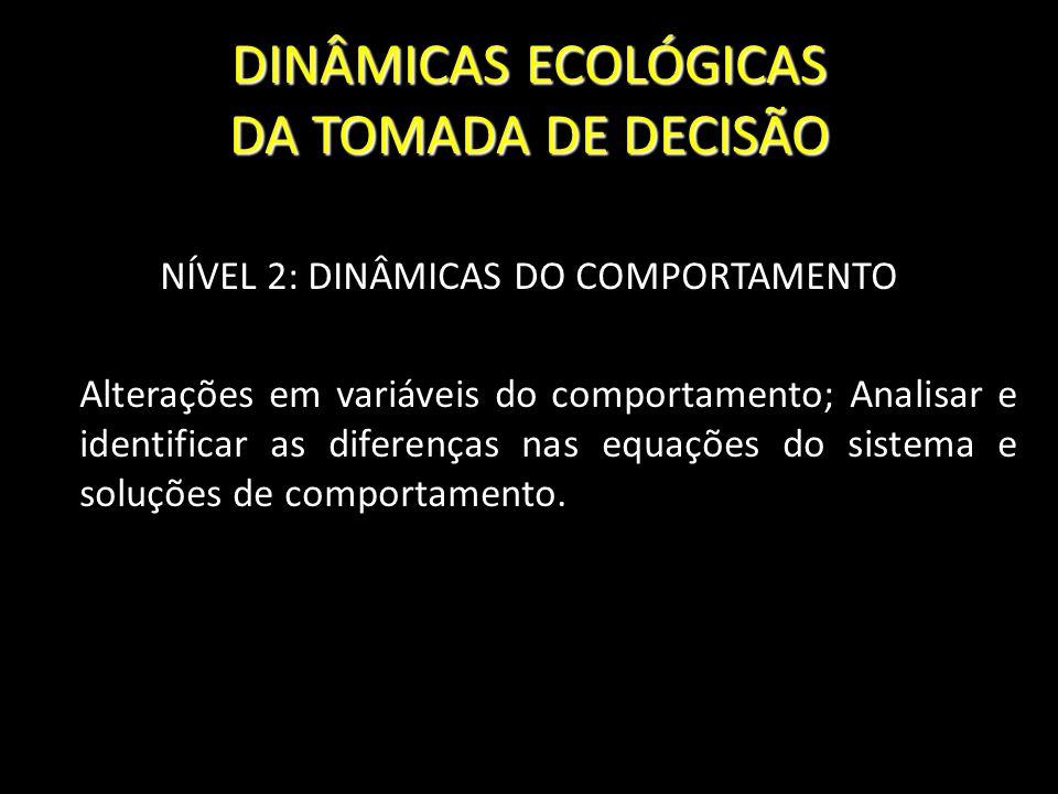 DINÂMICAS ECOLÓGICAS DA TOMADA DE DECISÃO