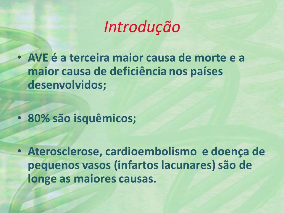 Introdução AVE é a terceira maior causa de morte e a maior causa de deficiência nos países desenvolvidos;