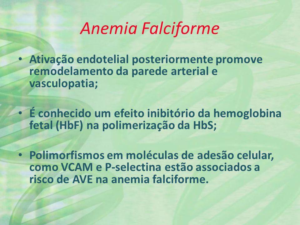 Anemia Falciforme Ativação endotelial posteriormente promove remodelamento da parede arterial e vasculopatia;