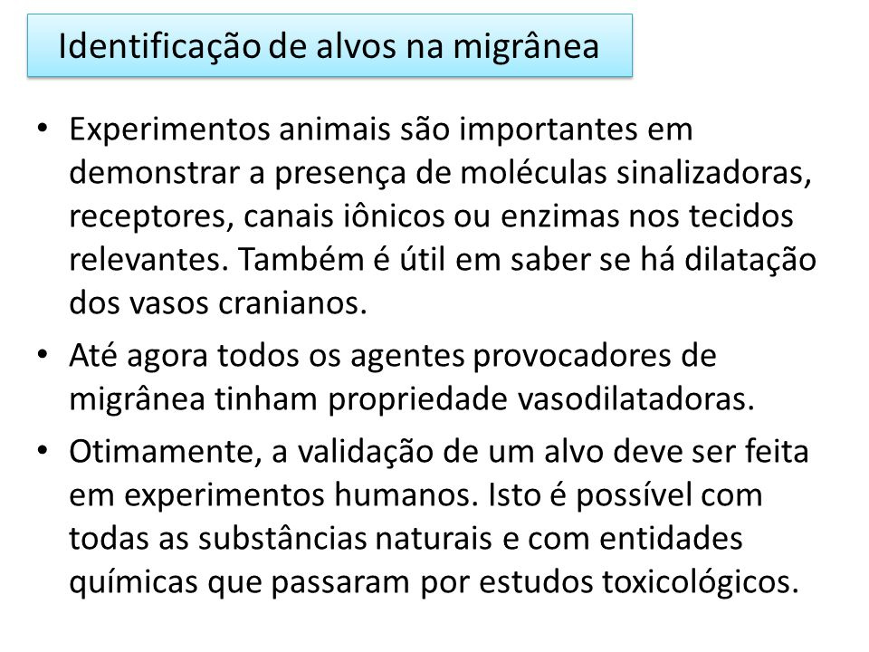 Identificação de alvos na migrânea
