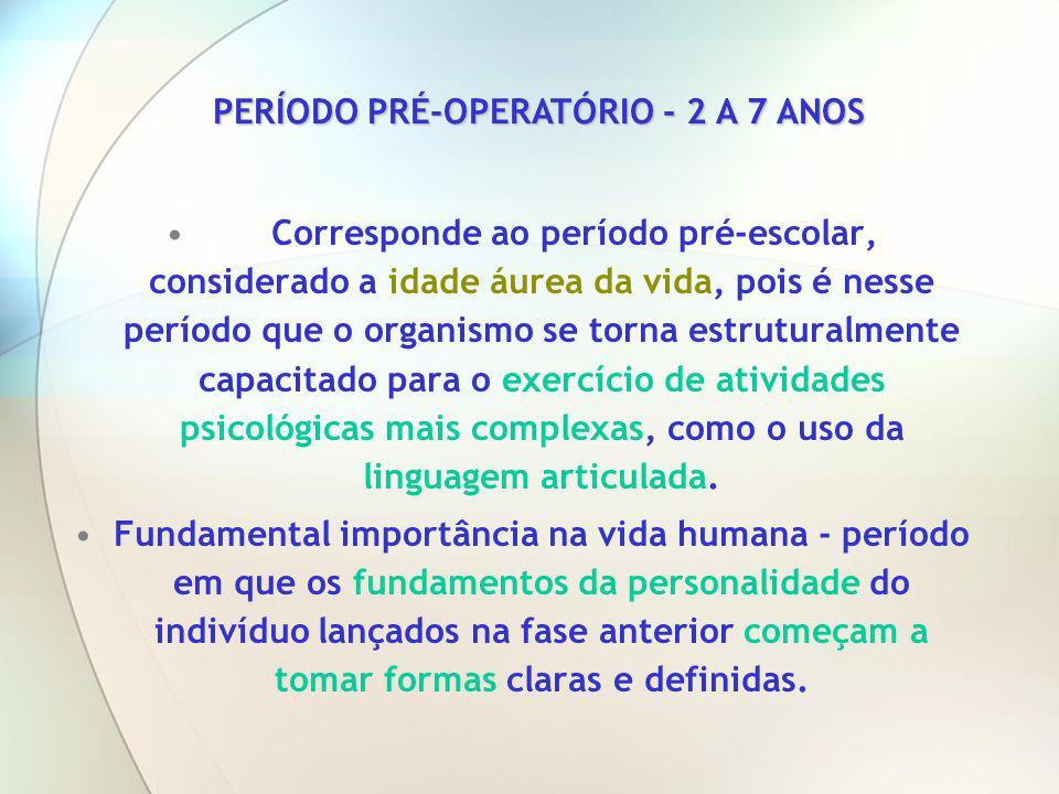 PERÍODO PRÉ-OPERATÓRIO - 2 A 7 ANOS