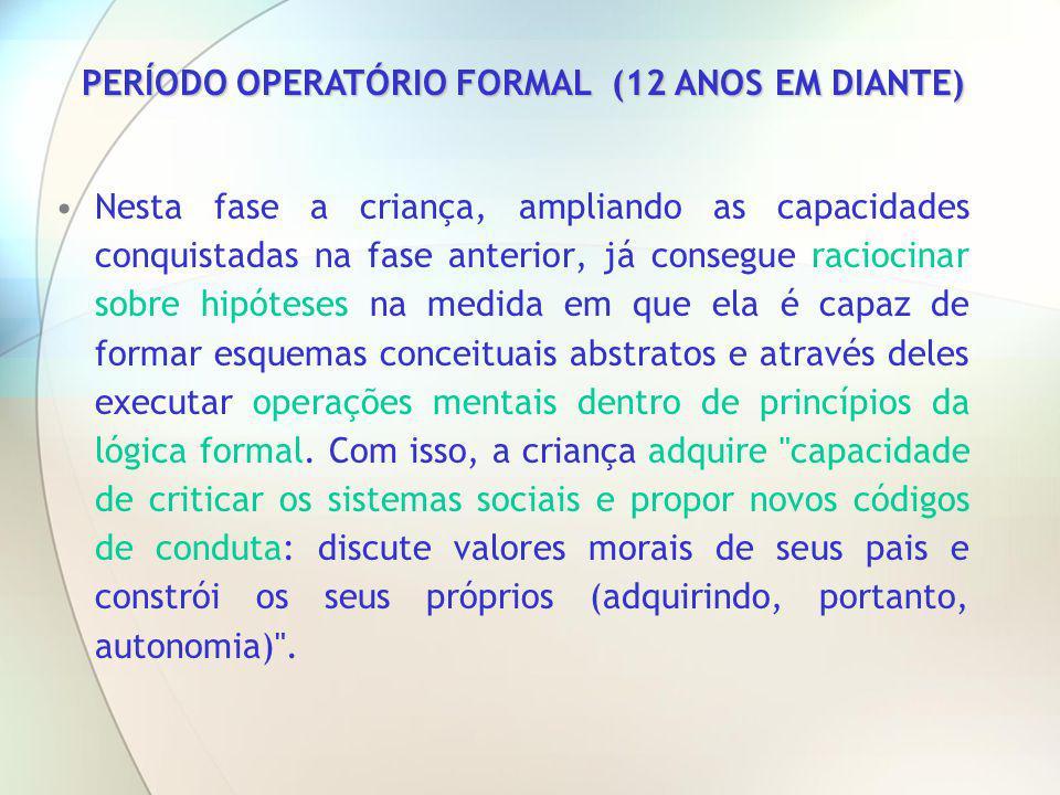 PERÍODO OPERATÓRIO FORMAL (12 ANOS EM DIANTE)