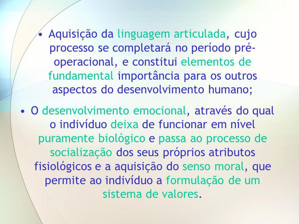 Aquisição da linguagem articulada, cujo processo se completará no período pré-operacional, e constitui elementos de fundamental importância para os outros aspectos do desenvolvimento humano;