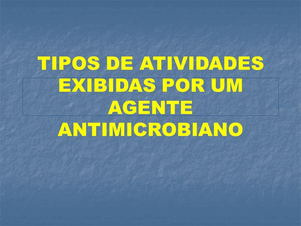 TIPOS DE ATIVIDADES EXIBIDAS POR UM AGENTE ANTIMICROBIANO