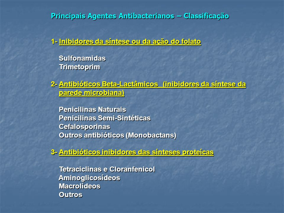 Principais Agentes Antibacterianos – Classificação