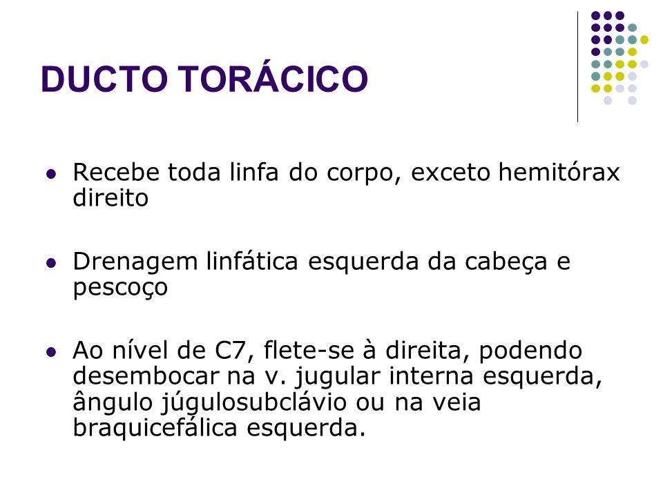 DUCTO TORÁCICO Recebe toda linfa do corpo, exceto hemitórax direito