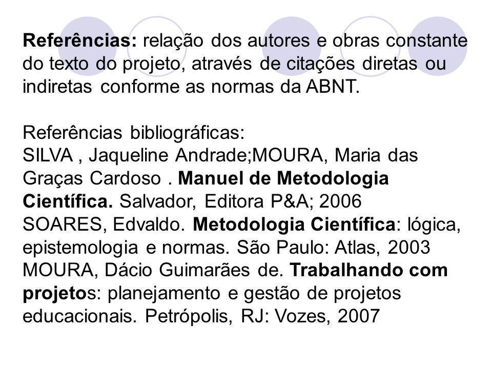 Referências: relação dos autores e obras constante do texto do projeto, através de citações diretas ou indiretas conforme as normas da ABNT.