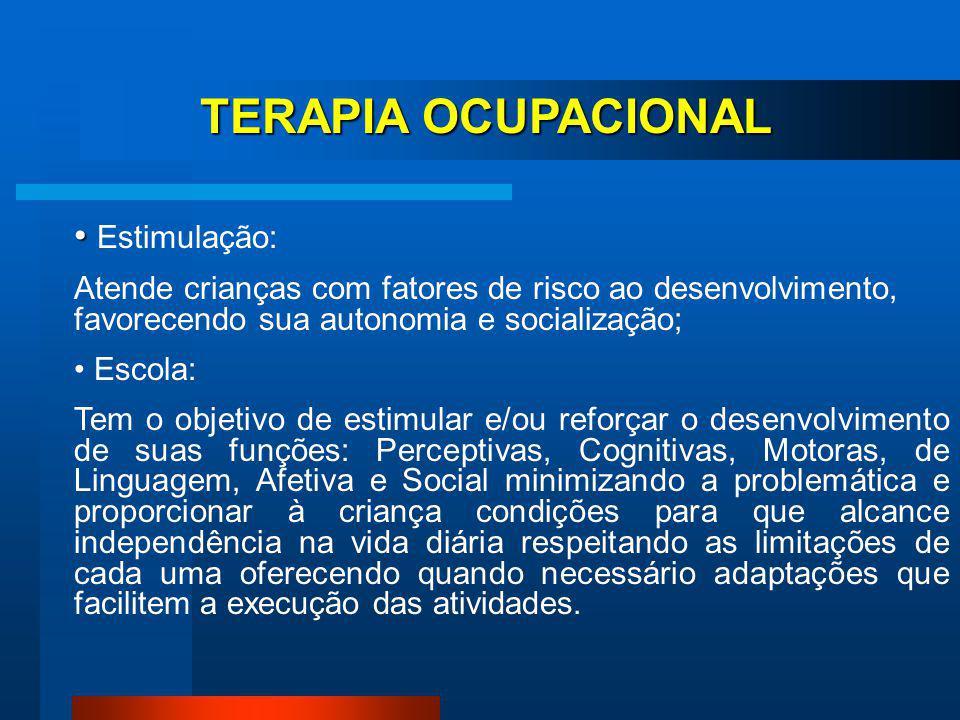TERAPIA OCUPACIONAL Estimulação: