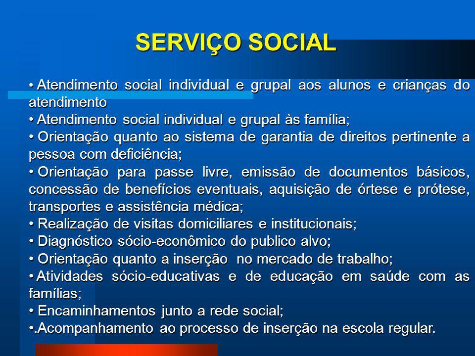 SERVIÇO SOCIAL Atendimento social individual e grupal às família;