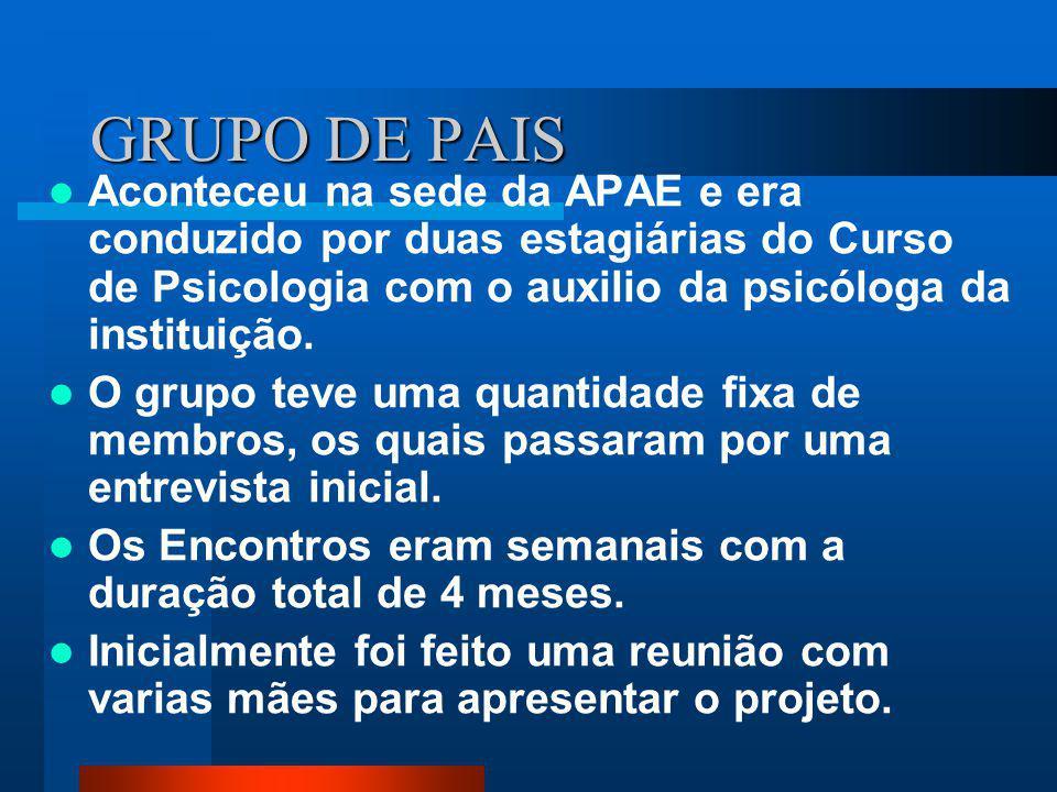 GRUPO DE PAIS Aconteceu na sede da APAE e era conduzido por duas estagiárias do Curso de Psicologia com o auxilio da psicóloga da instituição.