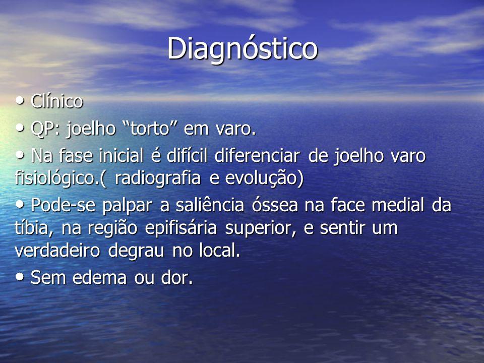 Diagnóstico Clínico QP: joelho torto em varo.