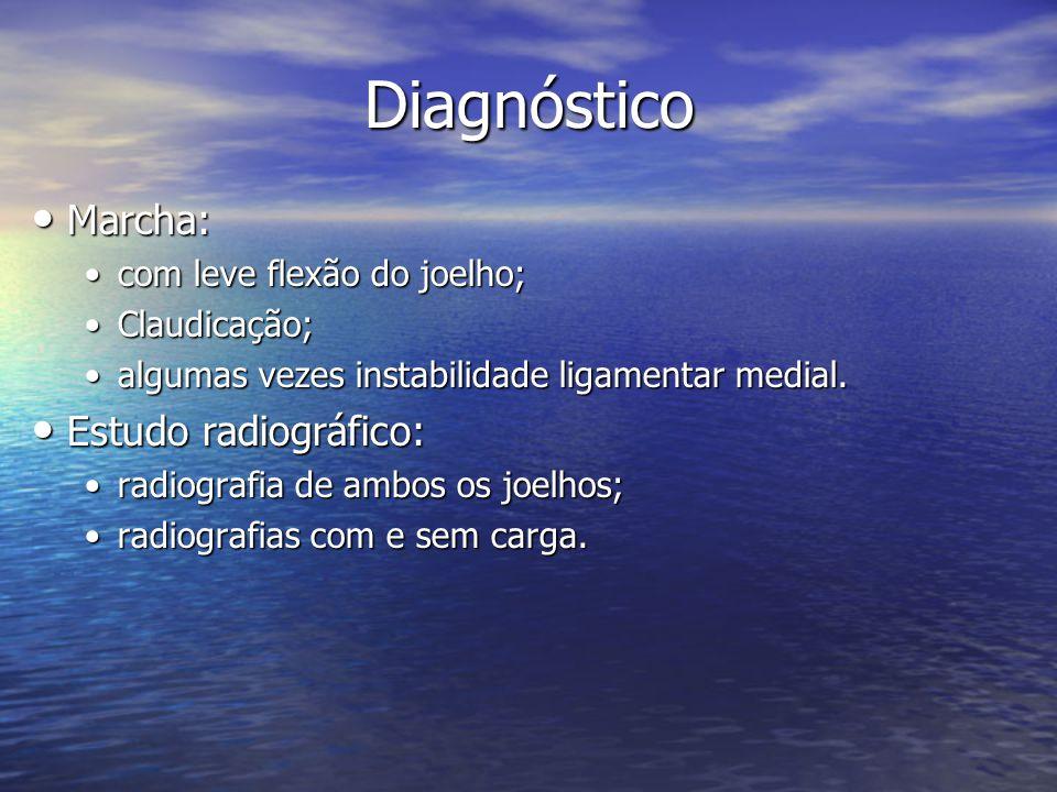 Diagnóstico Marcha: Estudo radiográfico: com leve flexão do joelho;