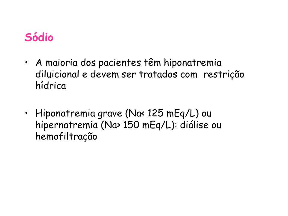 Sódio A maioria dos pacientes têm hiponatremia diluicional e devem ser tratados com restrição hídrica.