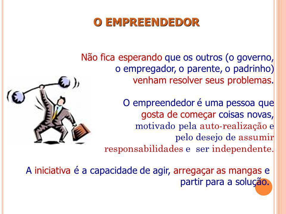 O EMPREENDEDOR Não fica esperando que os outros (o governo, o empregador, o parente, o padrinho) venham resolver seus problemas.