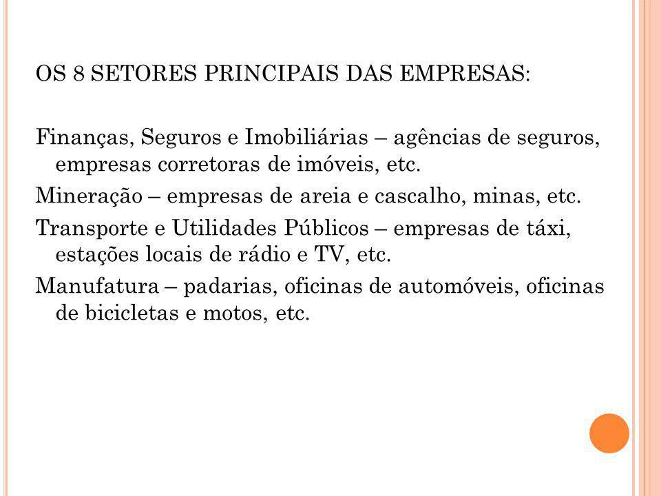 OS 8 SETORES PRINCIPAIS DAS EMPRESAS: Finanças, Seguros e Imobiliárias – agências de seguros, empresas corretoras de imóveis, etc.