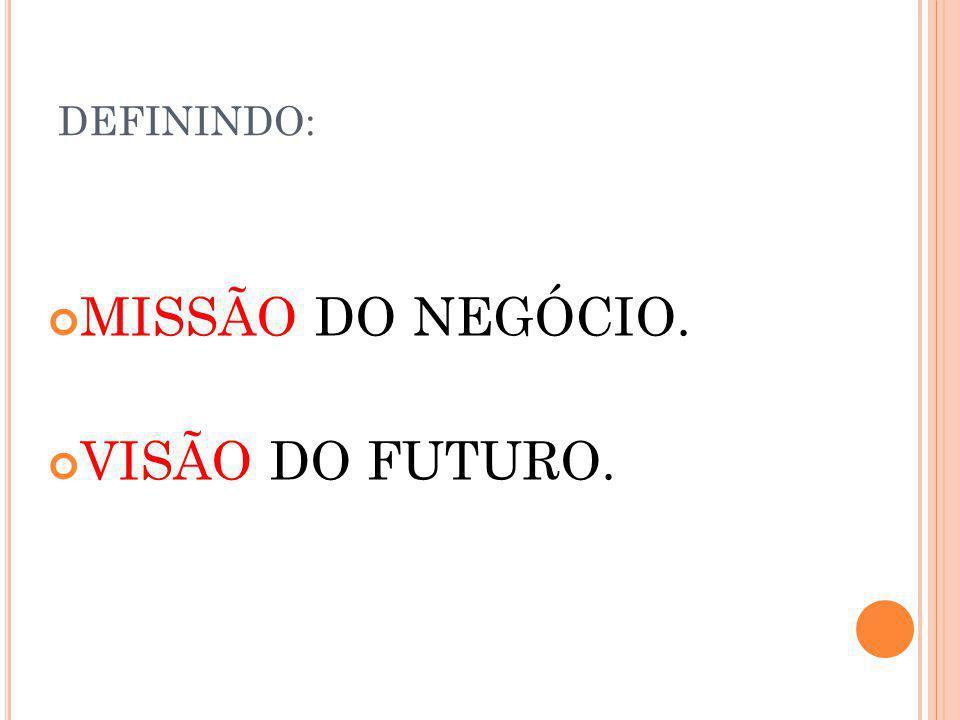 DEFININDO: MISSÃO DO NEGÓCIO. VISÃO DO FUTURO.
