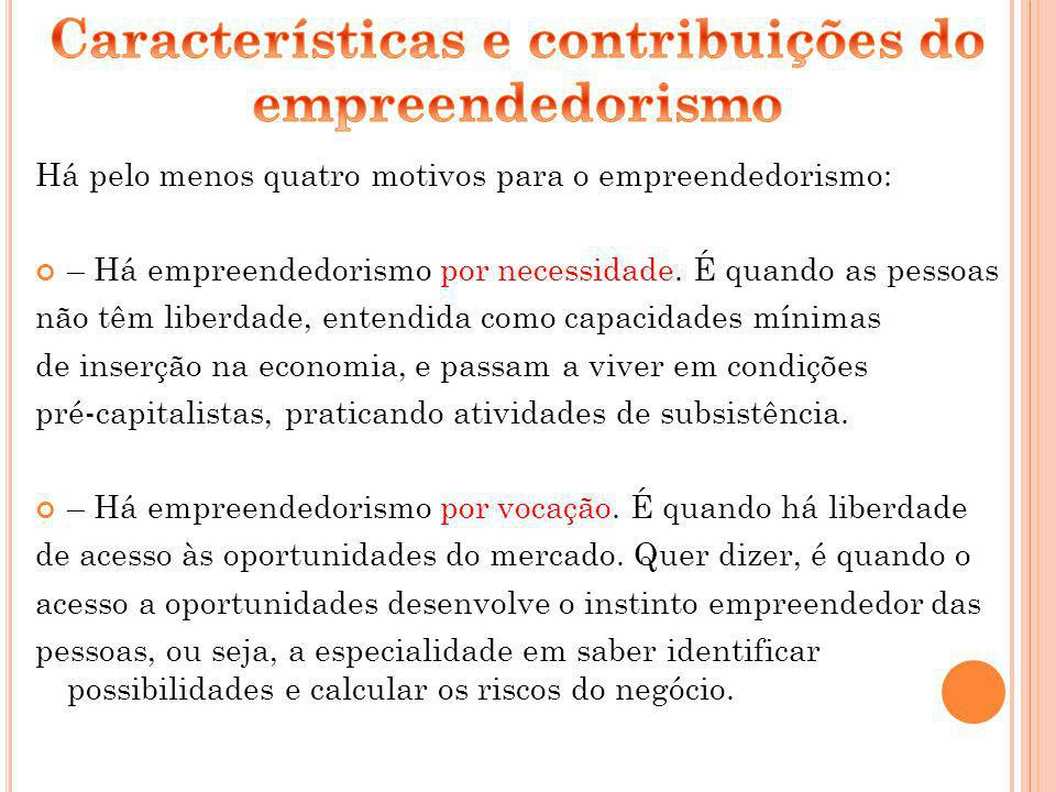 Características e contribuições do empreendedorismo