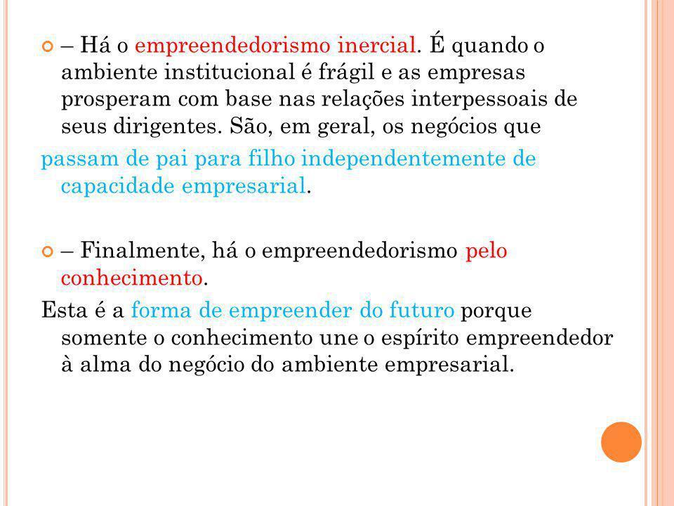 – Há o empreendedorismo inercial