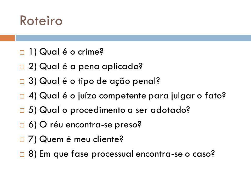 Roteiro 1) Qual é o crime 2) Qual é a pena aplicada