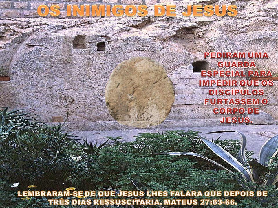 OS INIMIGOS DE JESUS PEDIRAM UMA GUARDA ESPECIAL PARA IMPEDIR QUE OS DISCÍPULOS FURTASSEM O CORPO DE JESUS.