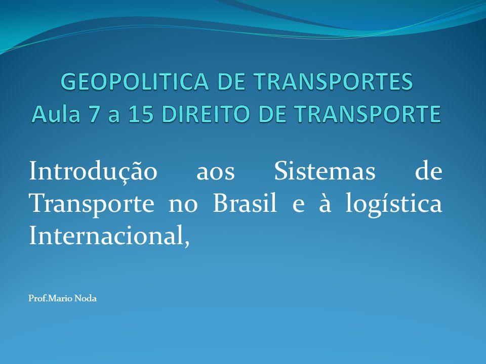 GEOPOLITICA DE TRANSPORTES Aula 7 a 15 DIREITO DE TRANSPORTE