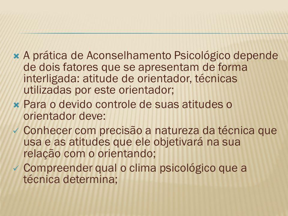 A prática de Aconselhamento Psicológico depende de dois fatores que se apresentam de forma interligada: atitude de orientador, técnicas utilizadas por este orientador;