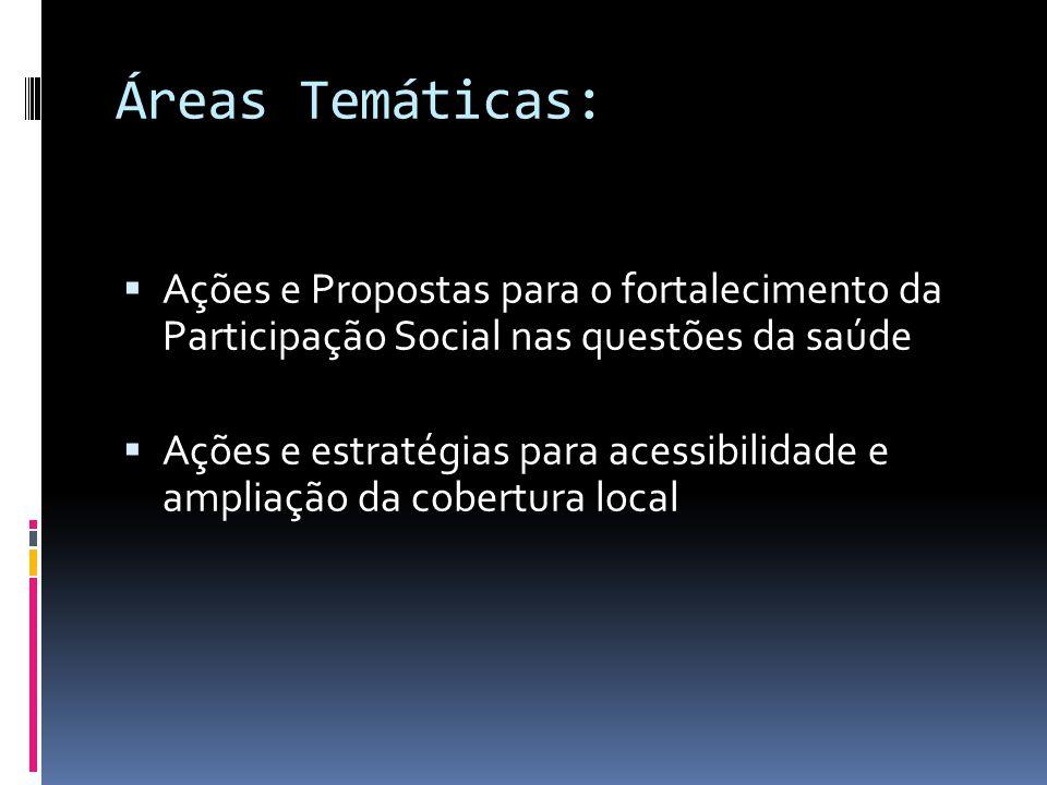 Áreas Temáticas: Ações e Propostas para o fortalecimento da Participação Social nas questões da saúde.