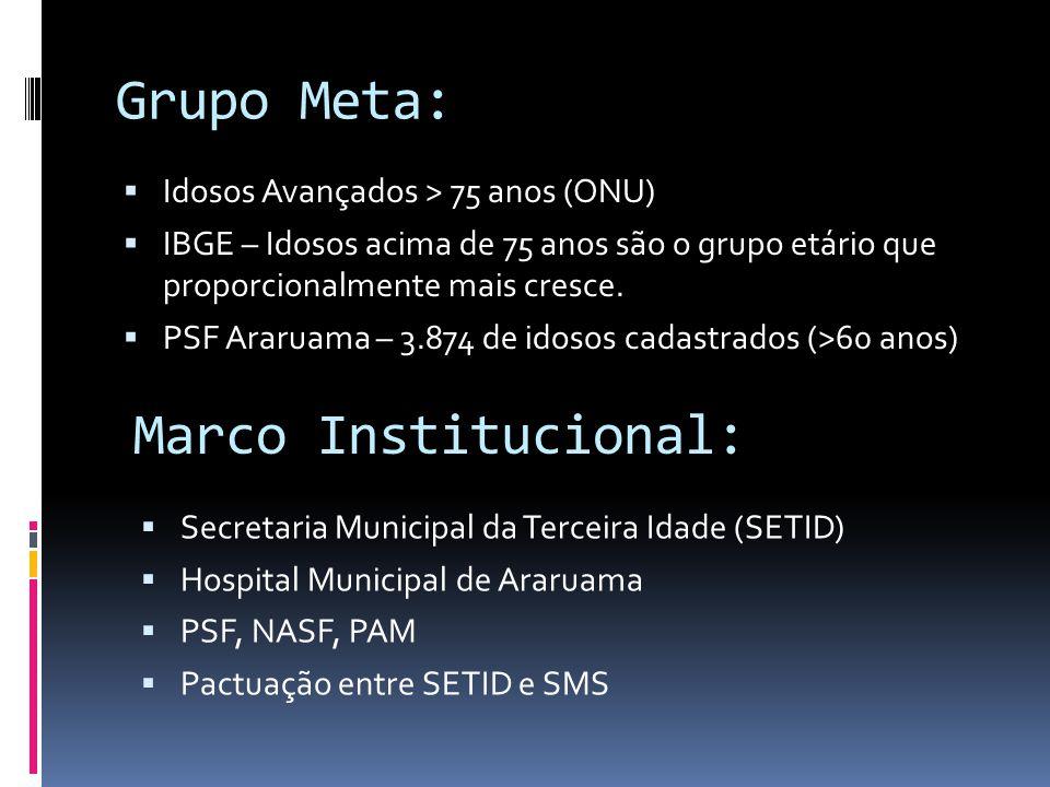 Grupo Meta: Marco Institucional: Idosos Avançados > 75 anos (ONU)
