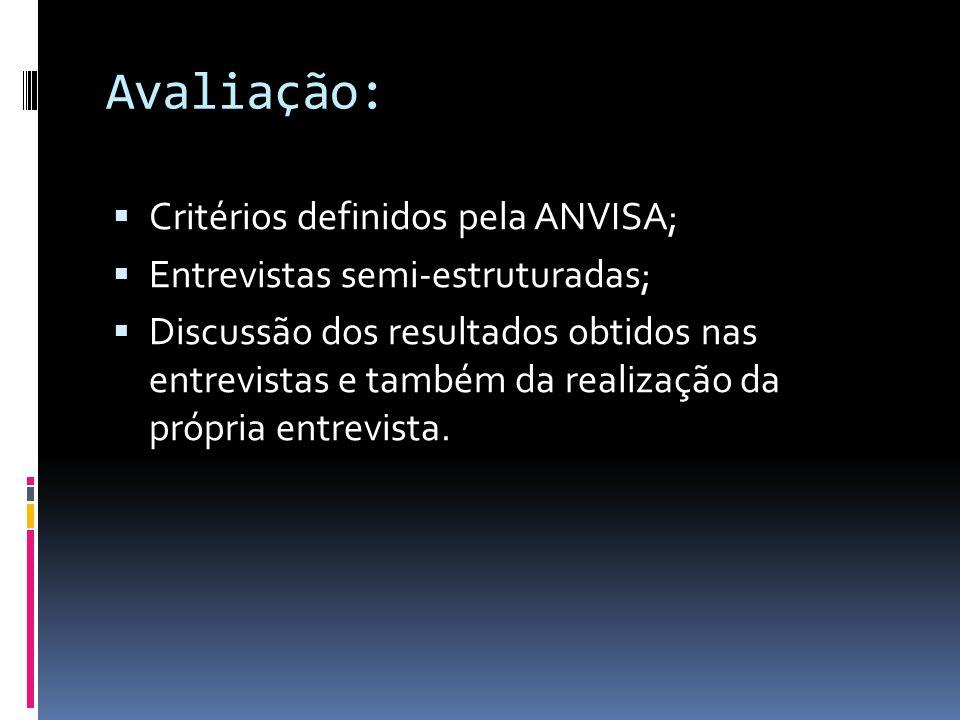 Avaliação: Critérios definidos pela ANVISA;