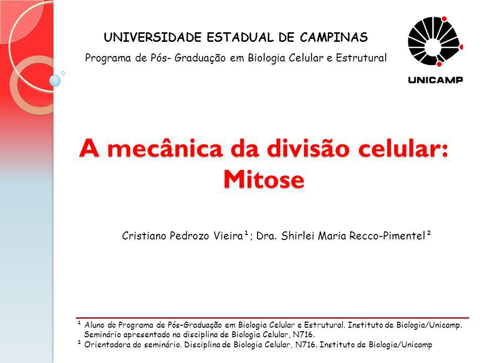A mecânica da divisão celular: Mitose