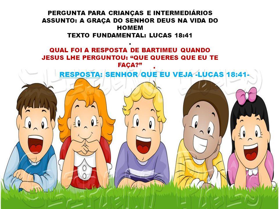 RESPOSTA: SENHOR QUE EU VEJA -LUCAS 18:41-