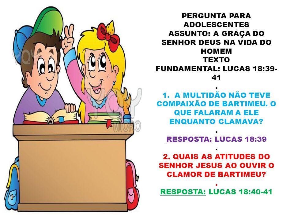 2. QUAIS AS ATITUDES DO SENHOR JESUS AO OUVIR O CLAMOR DE BARTIMEU